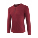 Mens Simple V-neck Long Sleeve Button Embellished Plain Slim Fit Knitted Pullover Sweater