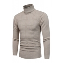Plain Plaid Print Long Sleeve High Collar Casual Fitted Pullover Knitted Sweater