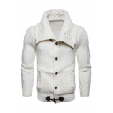 Mens Casual Wide Lapel Collar Long Sleeve Button Down Plain Chunky Knitted Cardigan Sweater