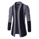 Mens Casual Color Block Long Sleeve Open Front Slim Fit Tunic Outdoor Cardigan