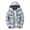 Guys Stylish Plain Long Sleeve Zip Closure Slim Fit Short Hooded Puffer Coat with Pocket
