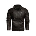 Mens Retro Long Sleeve Zip Placket Slim Fit Solid Color Faded PU Jacket