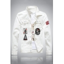 Funny Embroidery Badge Printed Long Sleeve Single Breasted White Fitted Denim Jacket