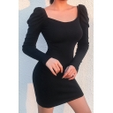 Womens Elegant Plain Black Square Neck Puff Long Sleeve Slim Fit Mini Party Dress