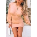 Womens New Stylish Plain Pink Long Sleeve Crew Neck Knit Mini Bodice Party Dress