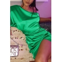 Womens Popular Slash Neck Single Sleeve Ruched Detail Green Fitted Mini Party Dress