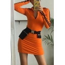 Womens Casual Striped Long Sleeve Half Zip Placket Slim Fit Sportive Mini Dress in Orange