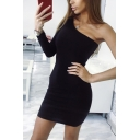 Womens Casual Plain One-Shoulder Single Sleeve Mini Tight Dress for Club