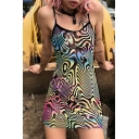 Womens Unique Colorful Abstract Pattern Slim Fit Mini Beach Holiday Tulle Strap Dress in Black