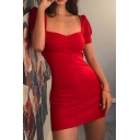 Womens Elegant Plain Lantern Short Sleeve Sweetheart Neck Mini Fitted Party Dress
