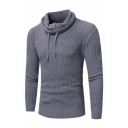 Mens New Fashion Drawstring Pile Collar Long Sleeve Plain Knitted Pullover Sweater