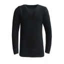 Mens Casual Solid Color Long Sleeve Round Neck Warm Pullover Sweater