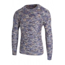 Mens Casual Long Sleeve Round Neck Chunky Diamond Knitted Sweater Jumper