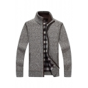 Mens Popular Coffee Plain Long Sleeve Zip Up Casual Warm Knitted Jacket Cardigan