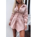 Womens Chic Elegant Lapel Collar Long Sleeve Lace-Up Gathered Waist Plain Mini Shirt Dress