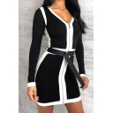 Womens Stylish Contrast Panel Long Sleeve V-Neck Zip Placket Simple Casual Party Mini Dress