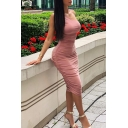 Womens Fashionable Solid Color One Shoulder Sleeveless Midi Ruched Party Dress