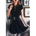 Gothic Black Lapel Collar Moon Zipper Placket Short Sleeve Retro Mini A-Line T-Shirt Dress