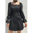 Womens Chic Plain Black Square Neck Puff Long Sleeve Button Down Mini A-Line Belted Dress