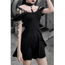 Girls Punk Black Lace Panel Straps Cold Shoulder Moon Pendant Halter Short Sleeve Mini A-Line Dress