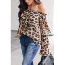 Chic Leopard Printed Off the Shoulder Ruffled Long Sleeve Loose Fit Brown Blouse Top