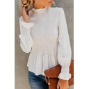 Solid Color Frill Trim Long Sleeve Mock Neck Ruffles Hem Shirred Shirt Top for Women