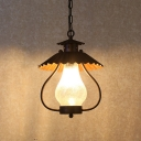 1 Bulb Lantern Pendant Lamp with Scalloped Metal Shade Frosted Crackle Glass Industrial Suspension Light in Rust