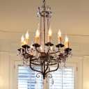 12 Lights Candle Suspension Pendant Country Bronze Crystal Chandelier Lamp for Living Room