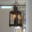 Rust 1 Light Hanging Ceiling Pendant Classic Metal Caged Suspended Lighting Fixture for Living Room