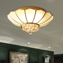 Ribbed Glass Flared Ceiling Flush Mount Contemporary 4/6-Light White Flushmount Lighting with Crystal Finia