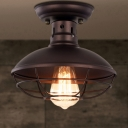 Barn Wrought Iron Semi Flush Light Rustic Style 1 Bulb Antique Bronze/Bronze Ceiling Mounted Light with Wire Frame