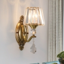 Rectangle-Cut Barrel Sconce Light Contemporary 1/2 Lights Brass Wall Light Fixture for Living Room