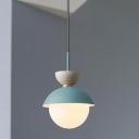 Macaron Hourglass Hanging Lamp Metal 1 Light Dining Room Pendant Light in Dark Blue and Dark Gray/Dark Gray/Dark Pink