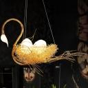 3 Lights Dining Room Chandelier Lamp Modern Gold Hanging Ceiling Light with Metal Goose Design