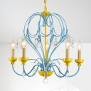 Macaron Candle Hanging Light with Adjustable Chain 5 Lights Blue and Yellow Chandelier for Children