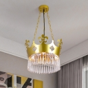 Golden Crown Shade Chandelier Light Fixture Contemporary Crystal 4 Bulbs Hanging Light in Gold