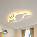 White/Pink Rainbow Cloudy Ceiling Light Cartoon Metallic LED Flush-Mount Light Fixture, Warm/White Light