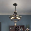 5 Bulbs Metal Empire Hanging Chandelier Vintage Pendant Lighting Fixture in Black and Gold