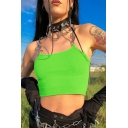 Edgy Looks Sleeveless Chained Strap Cami Crop Top for Girls