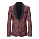 Mens Casual Red Floral Printed Long Sleeve Shawl Collar One Button Slim Fit Formal Blazer
