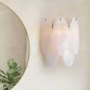 Oval-Shaped Sconce Light Fixture Contemporary Style White Glass 3 Bulbs Bedroom Wall Mount Light
