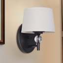 imple Style Conic Wall Mount Light White Fabric 1 Bulb Living Room Wall Sconce with Clear Crystal Ball Deco