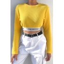 Female Fancy Casual Long Sleeve Crew Neck I AM HOTTY Letter Knit Fitted Yellow Crop Tee