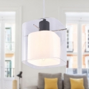 Modern Square Hanging Light Kit Clear and White Glass 1 Head Dining Room Pendant Light in Black