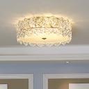 1 Light Flush Mount Modern Drum Clear Glass Ceiling Lamp for Living Room