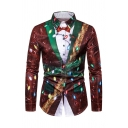 Mens Popular Colorful Lights Printed Fake Two Piece Clothing 3D Pattern Red Christmas Shirt