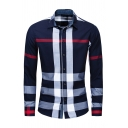 Mens Popular Cross Striped Print Long Sleeve Button Up Fitted Outdoor Casual Shirt