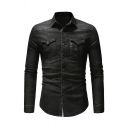 Mens Simple Leaf Printed Pocket Long Sleeve Single Breasted Slim Fitted Jean Shirt Jacket