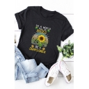 Womens Popular Sunflower IN A WORLD FULL OF ROSES Print Short Sleeves Graphic T-Shirt