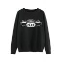 Womens Simple Letter CENTRAL PERK Print Long Sleeve Crew Neck Graphic Sweatshirt